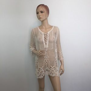 Dressbarn Crochet Lace-Up Beach coverup tunic Med